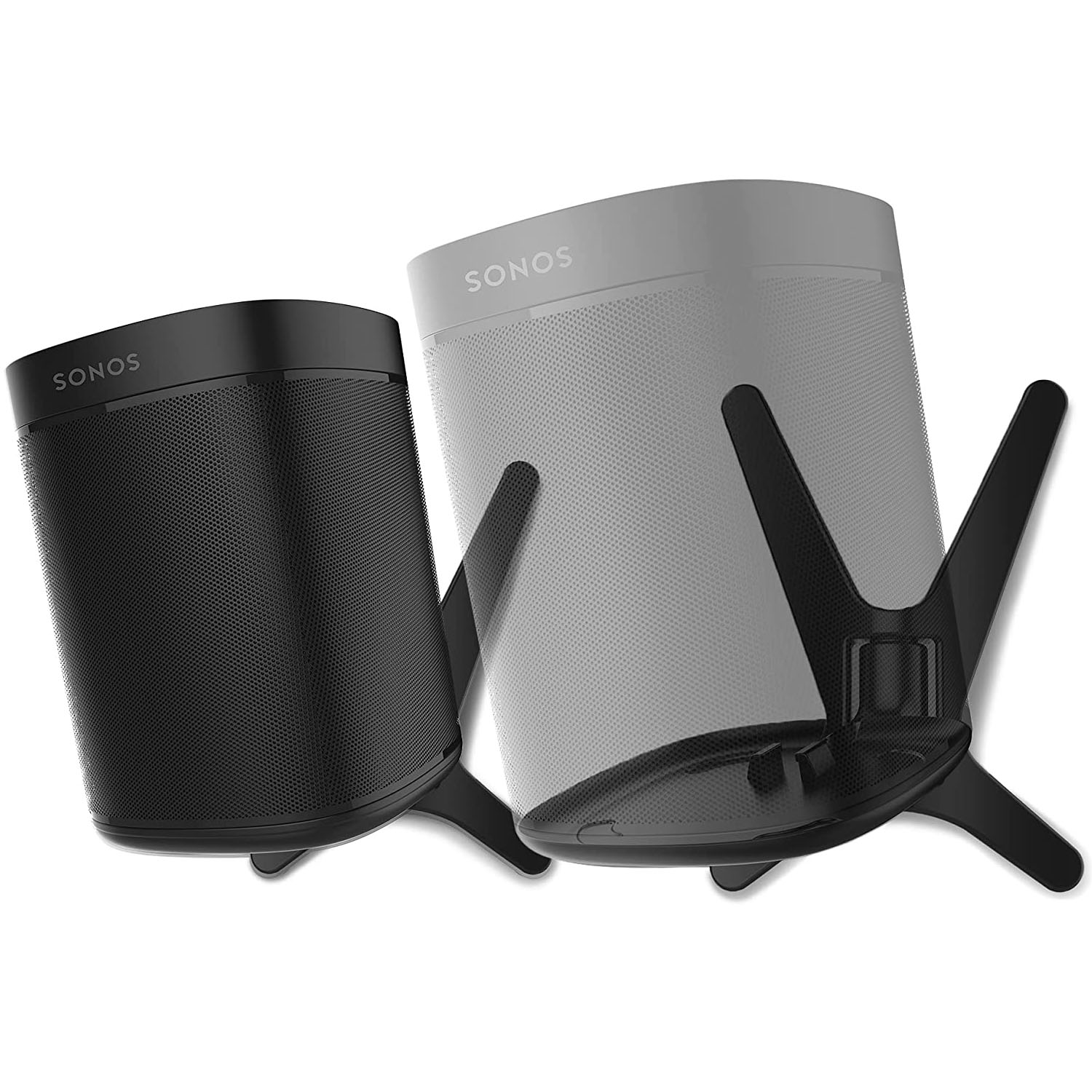 2 x ONE, ONE SL, Play:1 - Premium X Wall Mount Bracket - Black - Compatible with SONOS ONE, ONESL & Play:1